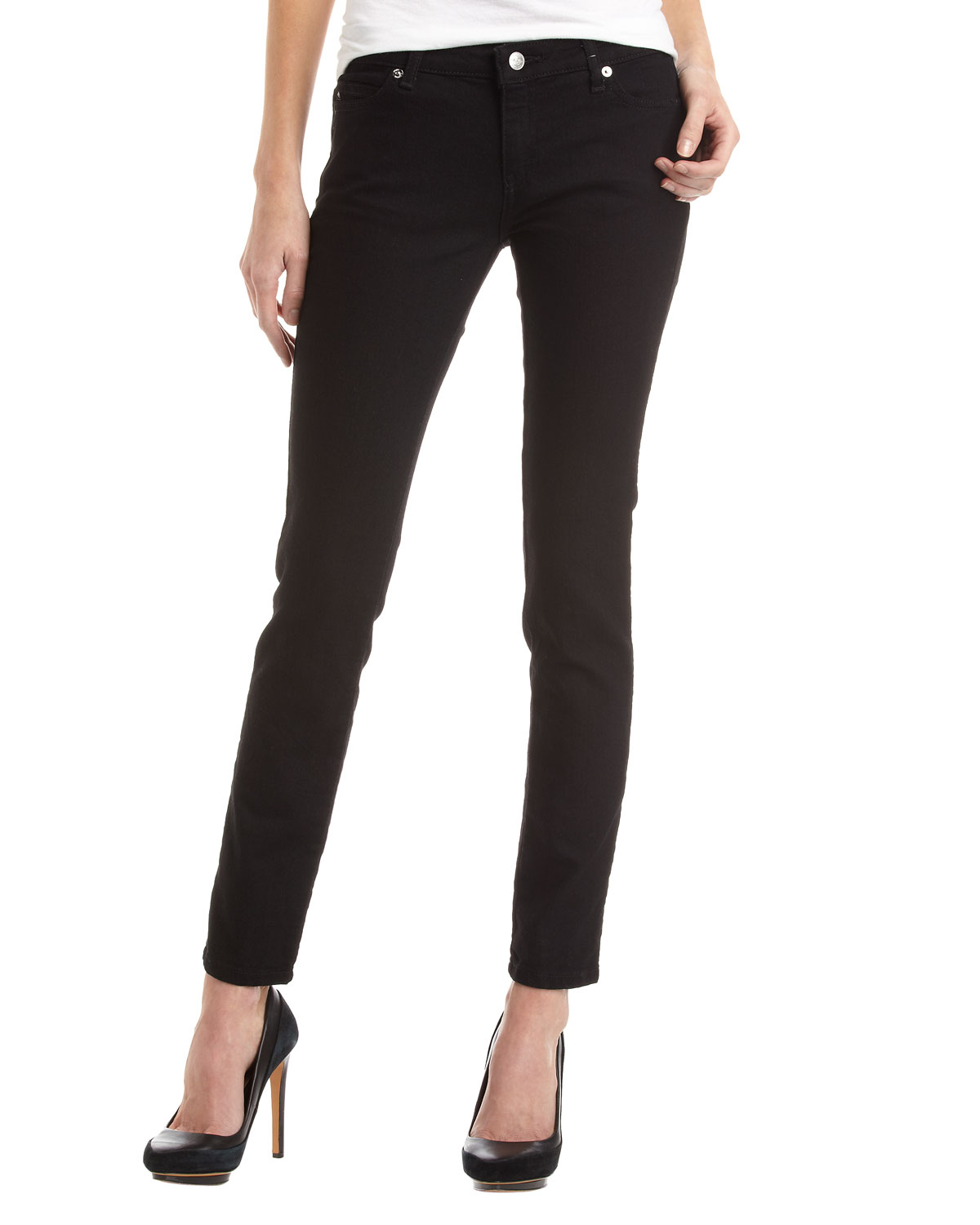 michael michael kors fivepocket skinny jeans in black save 21 lyst. Black Bedroom Furniture Sets. Home Design Ideas