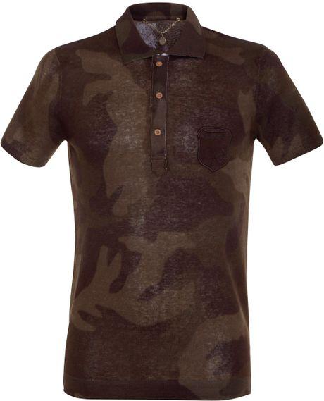 Diesel tcanoa camo polo shirt in brown for men lyst for Camo polo shirts for men