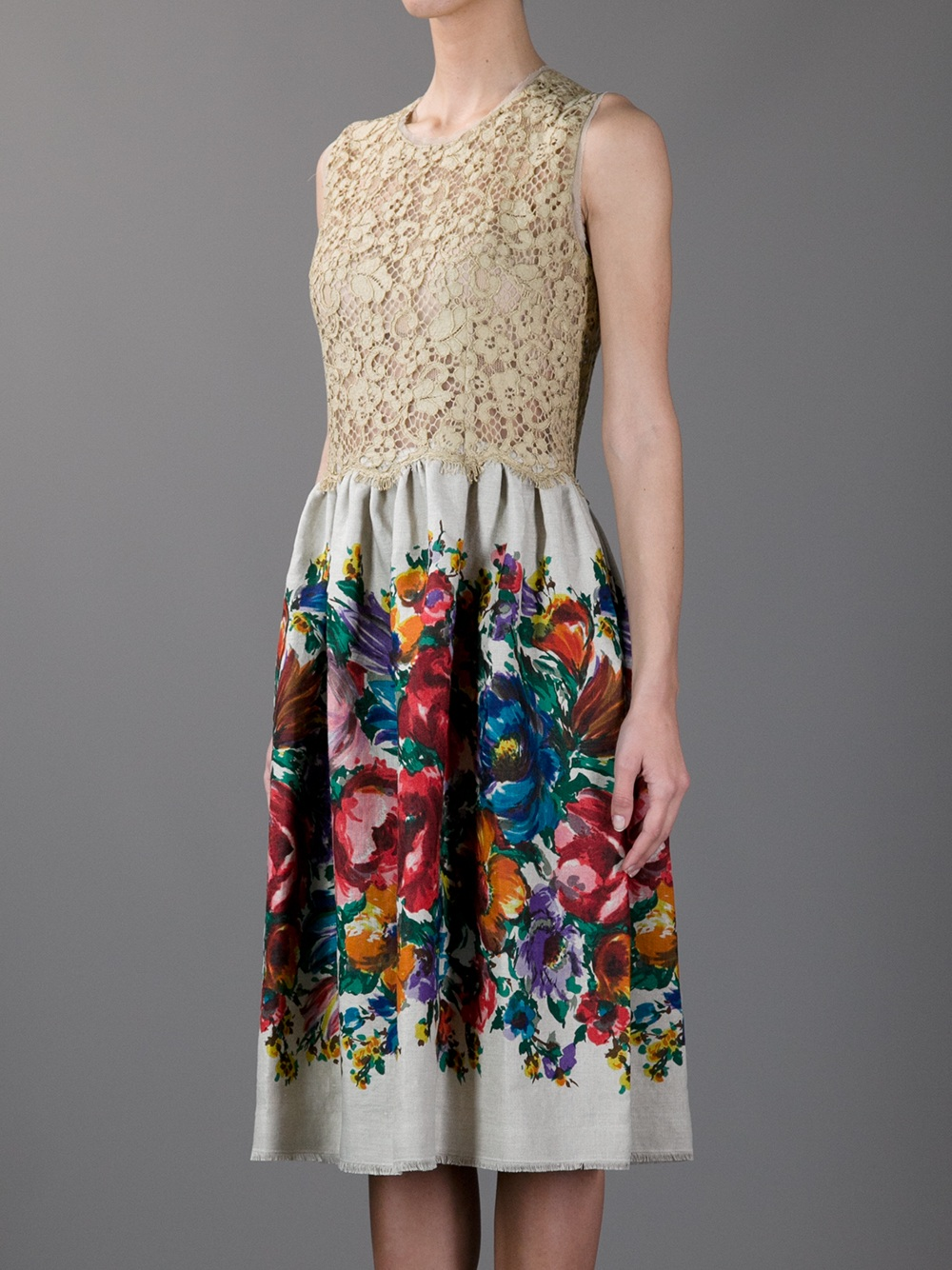 Lyst Dolce Amp Gabbana Floral Print And Lace Dress