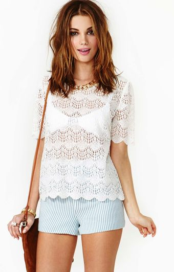 Nasty Gal Scalloped Crochet Top - Lyst