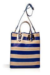 Sophie Hulme Striped Eelskin Convertible Tote