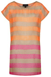 Topshop Tangerine Stripe Net Cover Up - Lyst