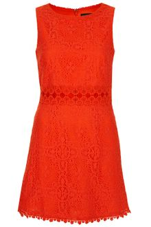Topshop 60's Lace Panel Shift Dress - Lyst