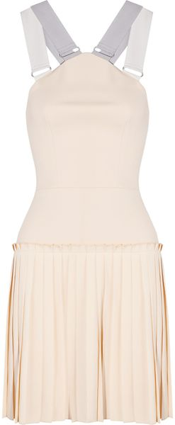 Victoria Beckham Pleated Cotton Blend Crepe Mini Dress - Lyst