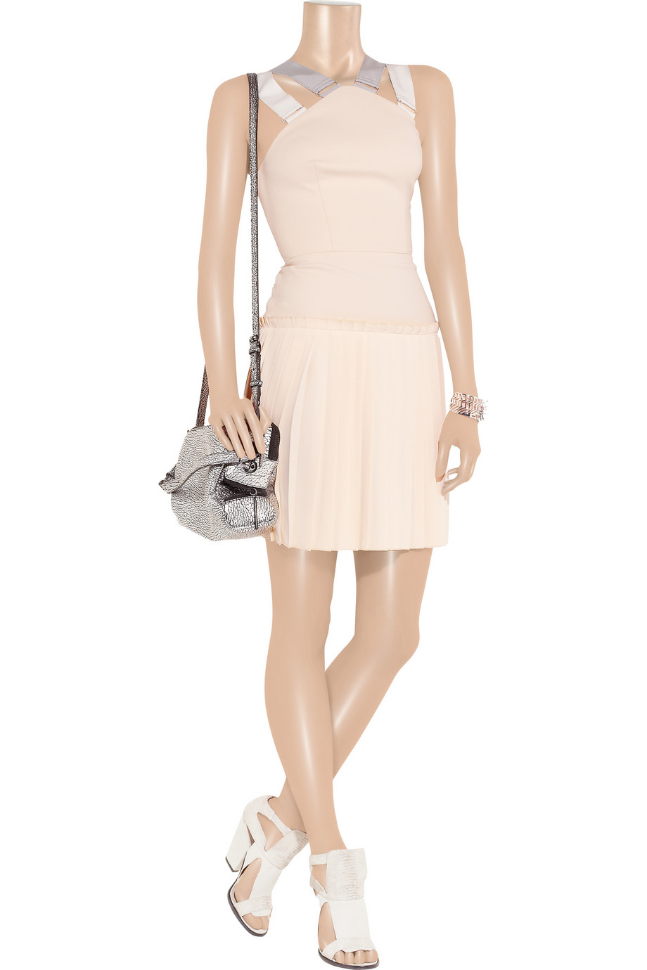 Victoria Beckham Pleated Cottonblend Crepe Mini Dress In