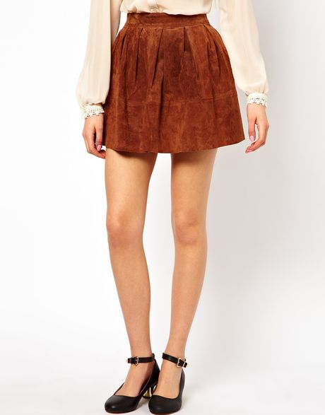 asos collection asos skater skirt in suede in brown