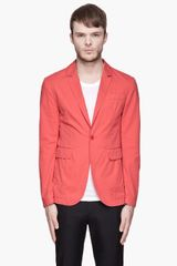 Carven Coral Red Chino Blazer - Lyst
