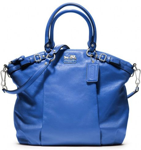 Coach Madison Leather Lindsey Satchel in Blue (silvercobalt)