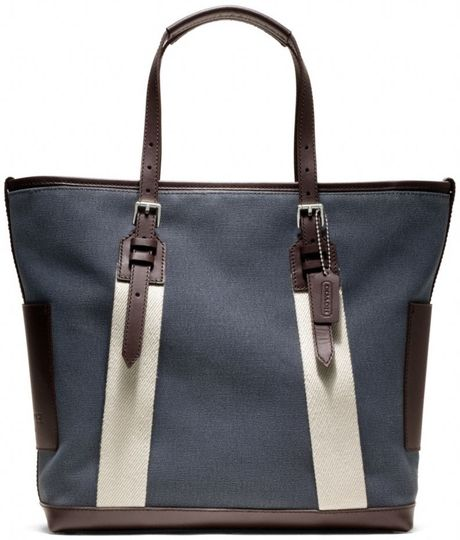 Coach Bleecker City Canvas City Tote in Blue for Men (silverdenim)