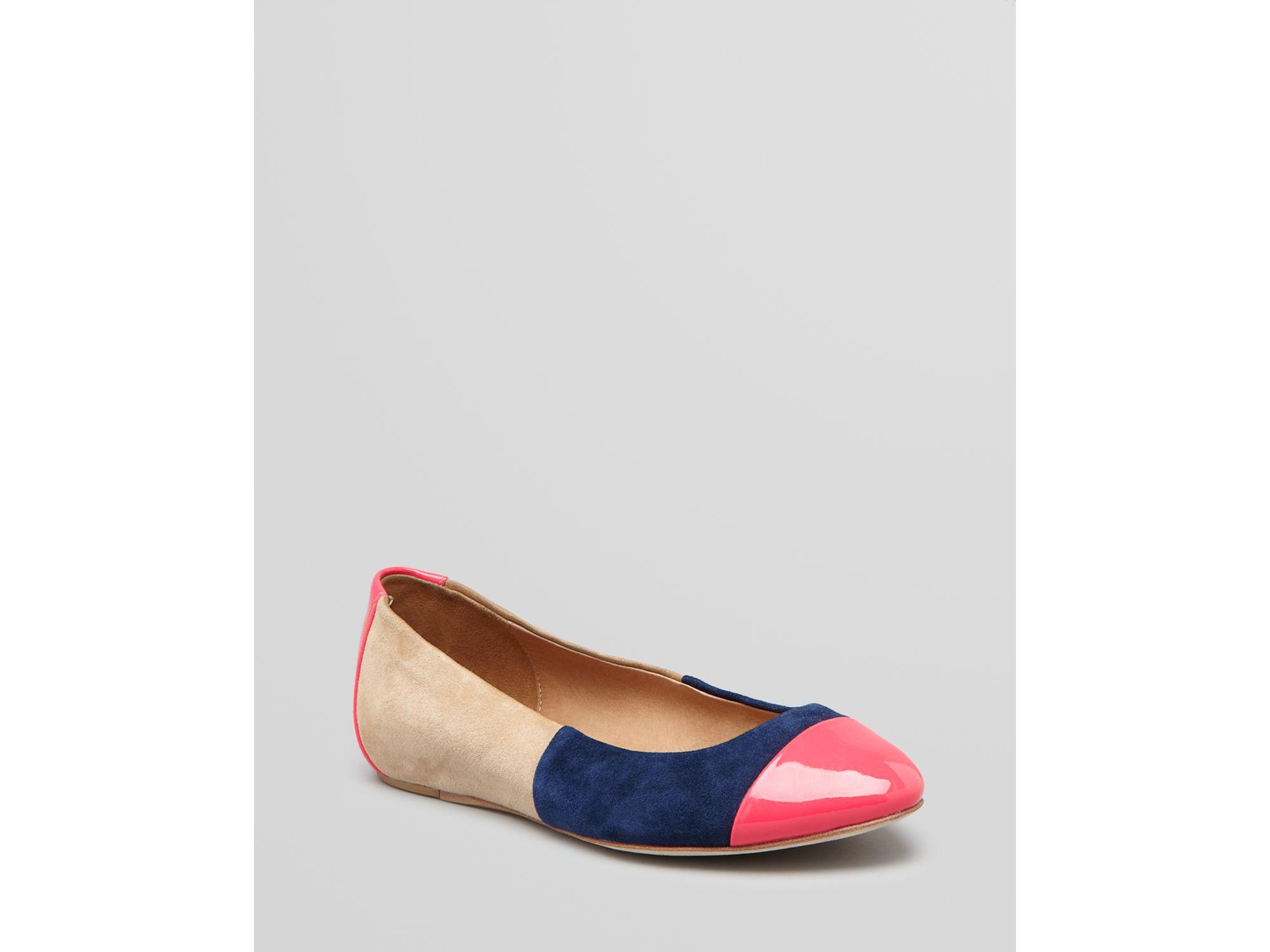 ella moss flats lainie colorblock in multicolor neon pink