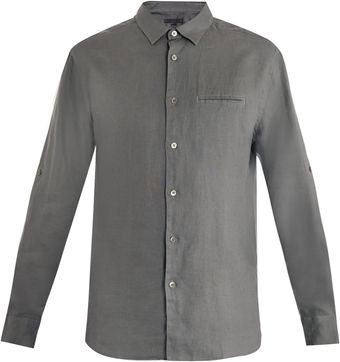 John Varvatos Roll Sleeve Linen Shirt - Lyst