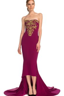 Marchesa Embroidered Fourply Crepe Gown - Lyst