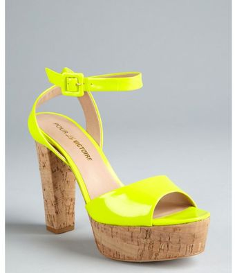 Pour La Victoire Neon Yellow Patent Leather Nasha Cork Heel Sandals - Lyst