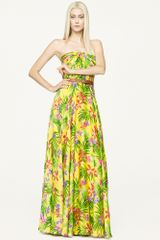 Ralph Lauren Black Label Long Floral Silk Dress - Lyst