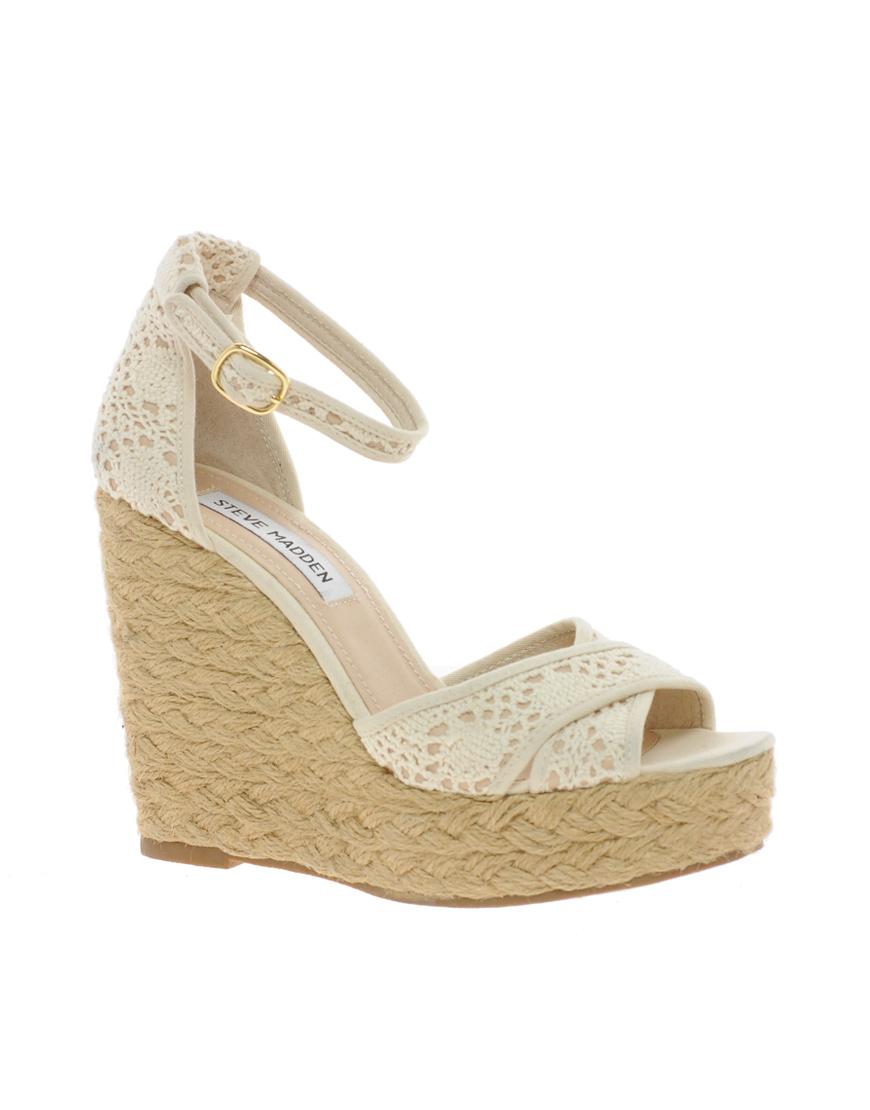0ead30825d8 Lyst - Steve Madden Marrvil Natural Platform Wedge Sandals in Natural