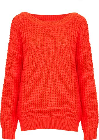 Topshop Knitted Scoop Neck Jumper - Lyst