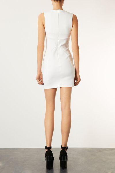 Topshop V Scuba Bodycon Dress In White Ivory Lyst