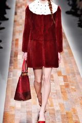 Valentino Long Sleeved Scallop Edge Dress with Cross Scallop Detail in Red (deep red) - Lyst
