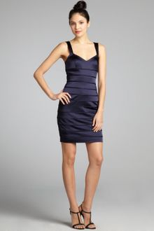 Vera Wang Lavender Navy Satin Banded V-Neck Cut-Out Back Tank Party Dress - Lyst