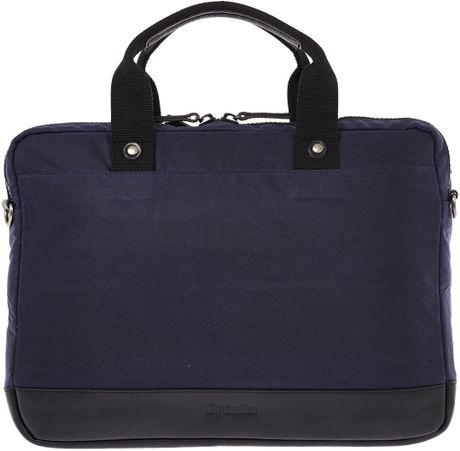 ... Capellino Navy Isaac Waxed Canvas Laptop Bag in Blue for Men (navy