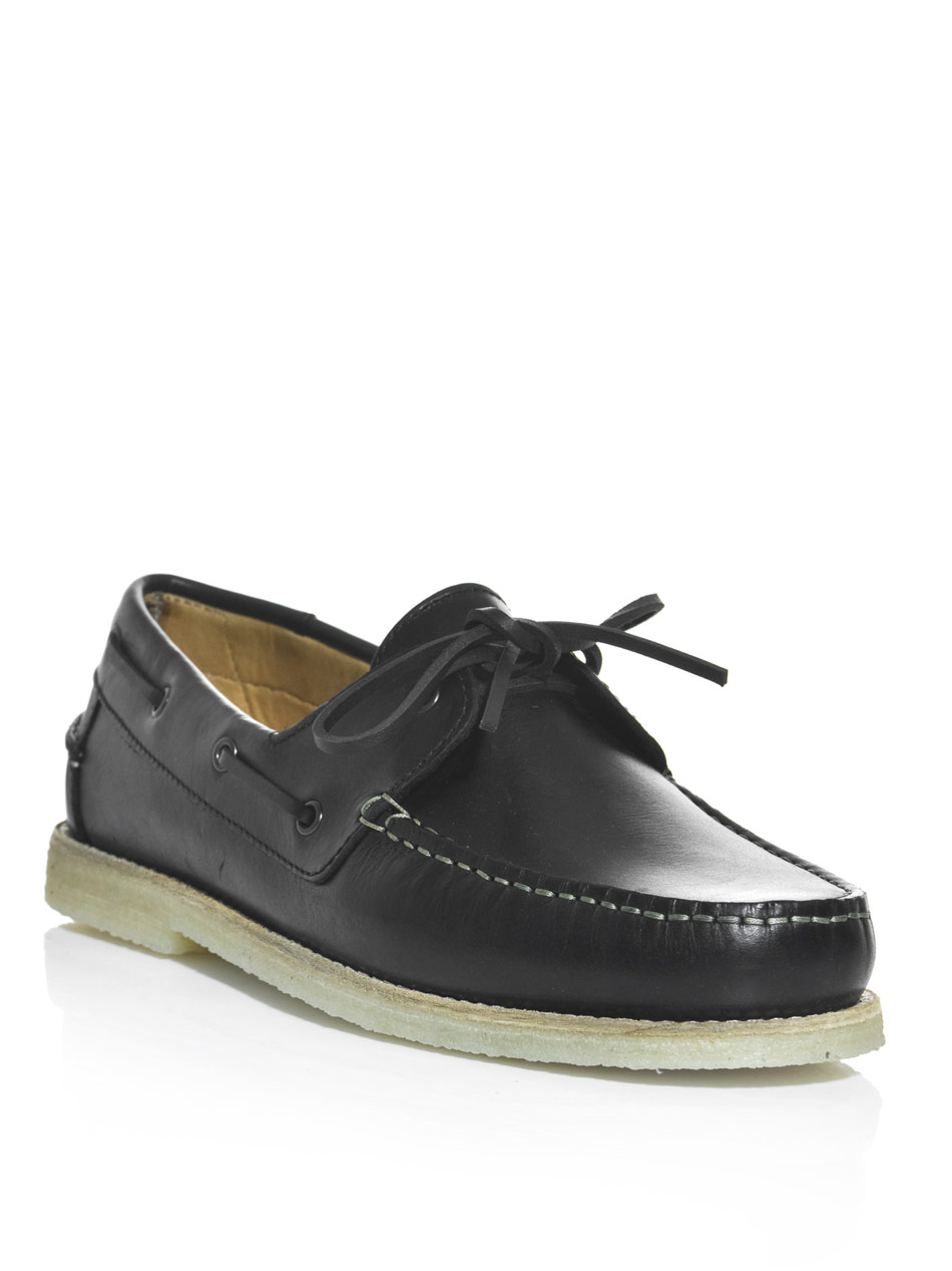 a p c leather boat shoes in black for lyst
