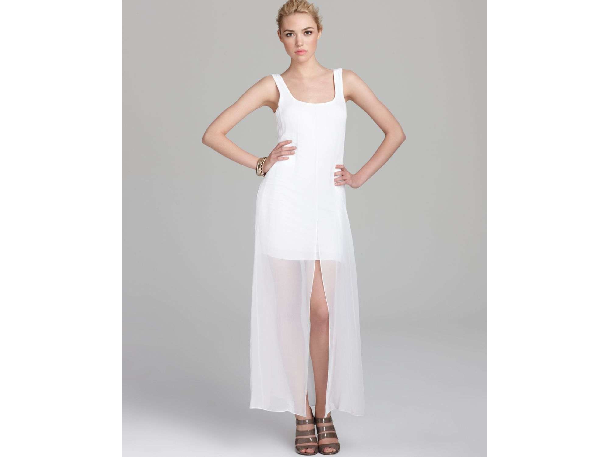 Bailey 44 Dress Sheer Overlay Maxi In White Lyst