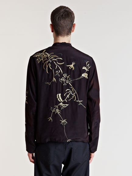 By Walid Mens Antique Embroidered Silk Kimono Jacket For