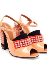 Fendi Polifonia Studded Patent Leather Peep Toe Pumps - Lyst
