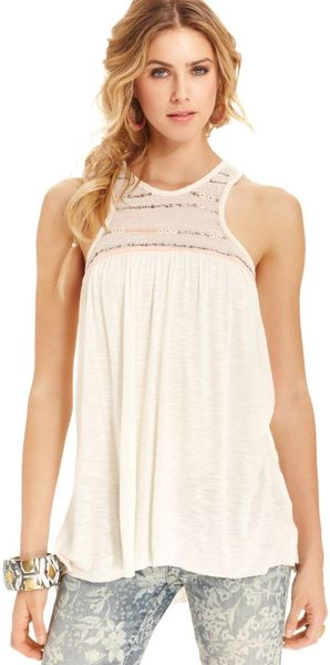 Free People Sleeveless High Neck Beaded Sequined A Line Top - Lyst