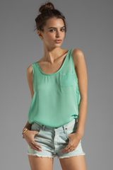 Michael Stars Wovens Positano Sleeveless Scoop Neck Pocket Tank - Lyst