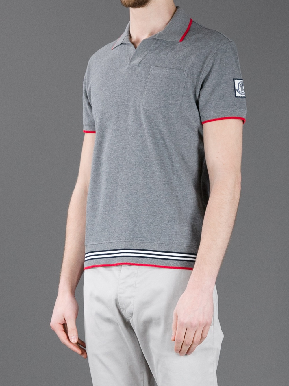 Lyst moncler gamme bleu classic polo shirt in gray for men for Man in polo shirt
