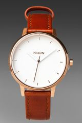 Nixon The Kensington Leather in Rosegoldwhite - Lyst