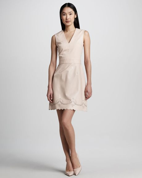 Raoul Sandy Scalloped Leather-blend Dress in Pink (ROSEWATER)