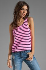 Splendid Miami Stripe Tank in Neon Pink - Lyst