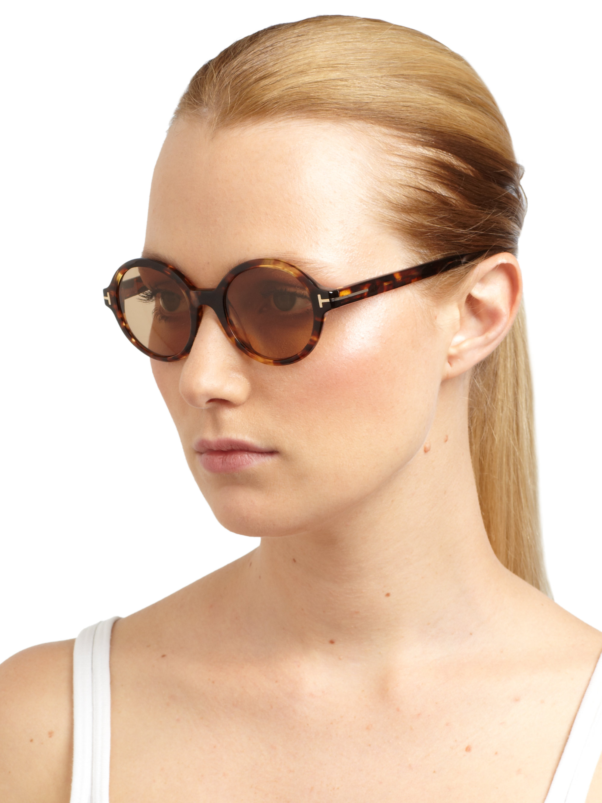Lyst Tom Ford Carter Round Sunglasses In Brown