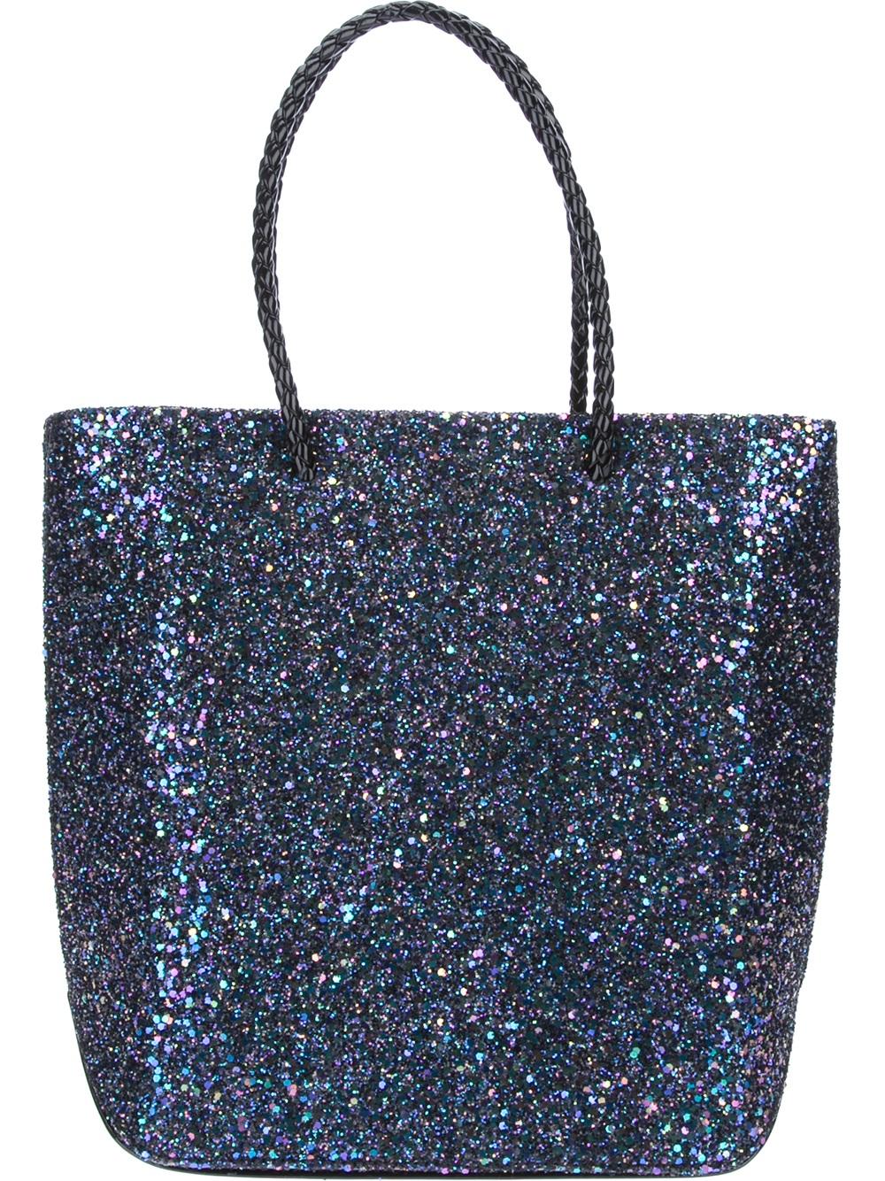Lyst Benedetta Bruzziches Glitter Shopping Bag In Blue