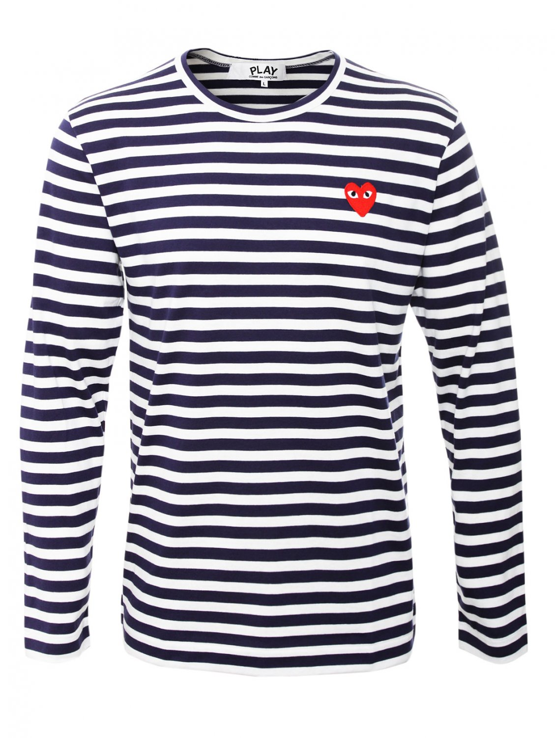 comme des gar ons play mens red heart stripe t shirt blue. Black Bedroom Furniture Sets. Home Design Ideas