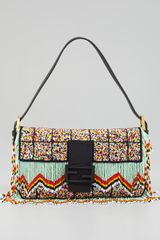 Fendi Rainbow Beaded Fringe Baguette - Lyst