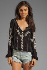 Free People Rolling Stone Woven Top in Black Combo - Lyst
