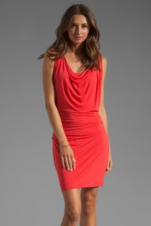 Halston Heritage Dress on Halston Heritage Cap Sleeve Overlay Dress With Draped Waist In Poppy