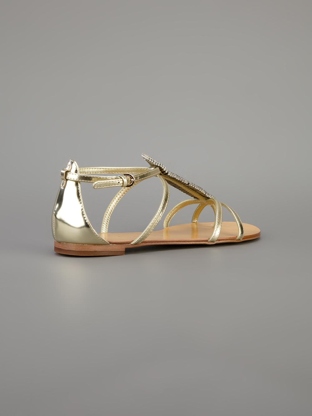 Lyst Lola Cruz Embellished Sandal In Metallic