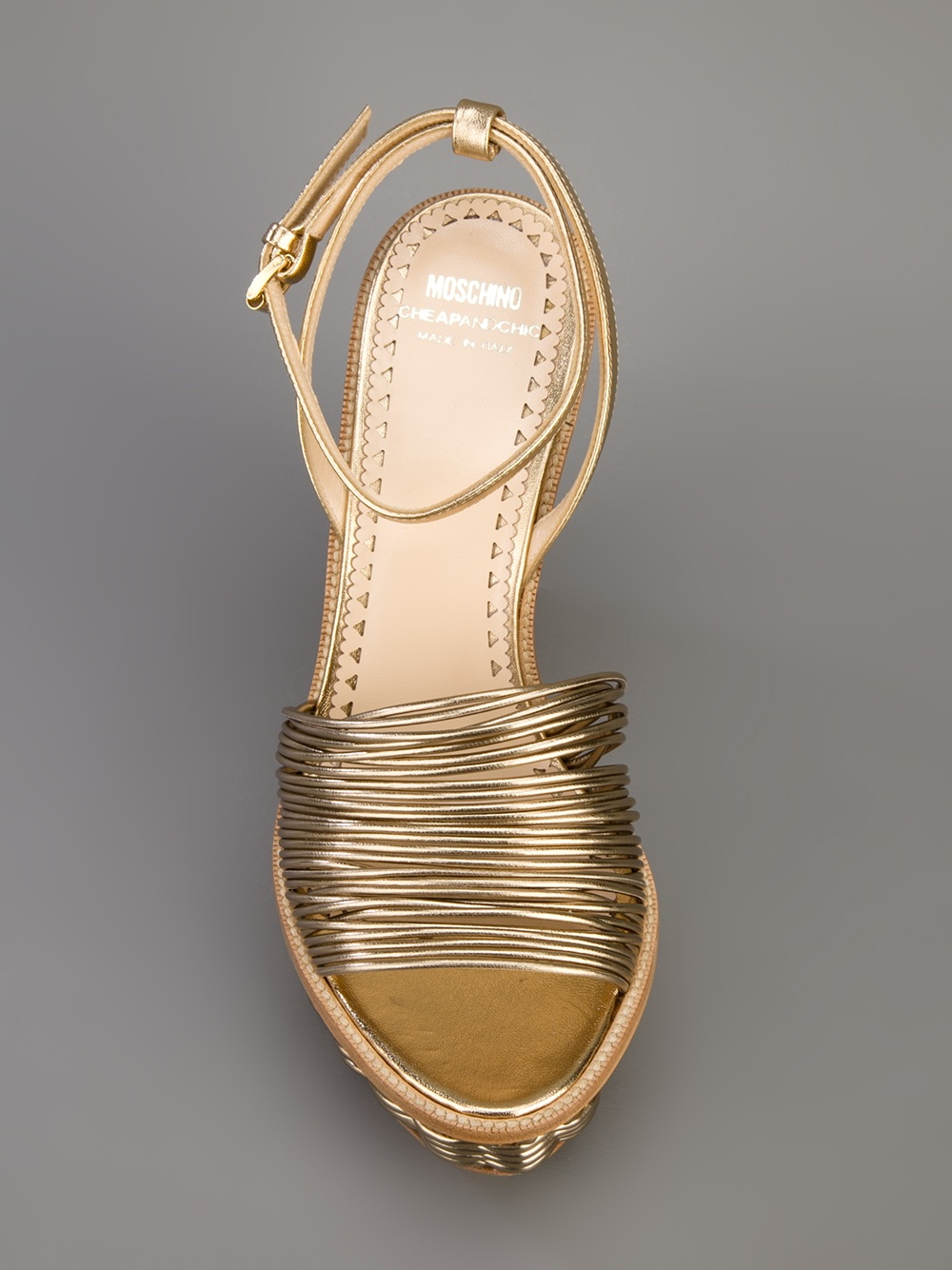 Boutique Moschino Woven Wedge Sandal In Gold Lyst