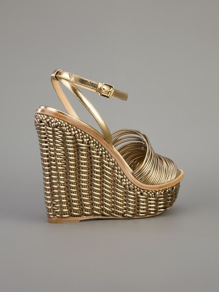 Moschino Cheap Amp Chic Woven Wedge Sandal In Gold Lyst