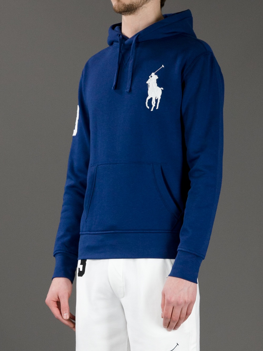polo ralph lauren logo hoodie in blue for men lyst. Black Bedroom Furniture Sets. Home Design Ideas