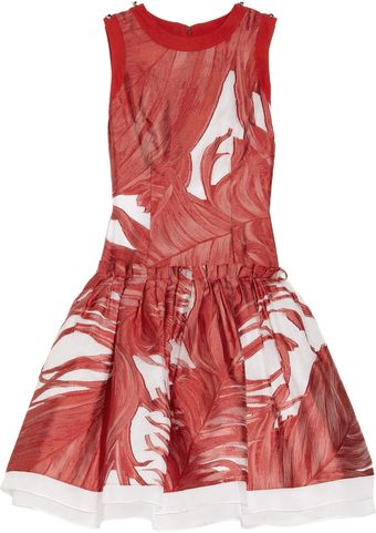 Prabal Gurung Droppedwaist Silk Fil Coupé Dress - Lyst