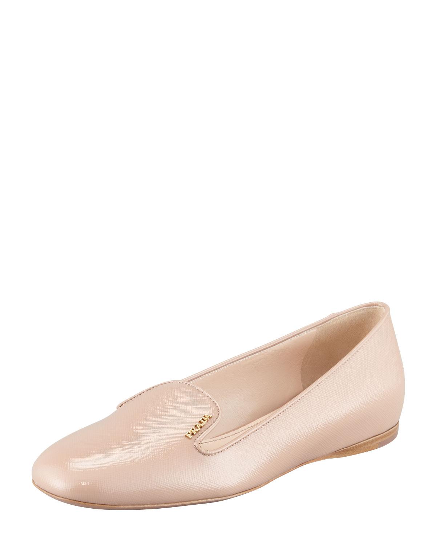 Lyst - Prada Vernice Saffiano Loafer Nude in Natural 9061c52388
