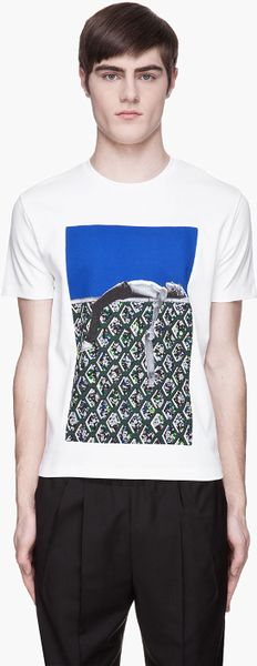 Raf Simons White and Green Inset Boarder Boy T-shirt - Lyst