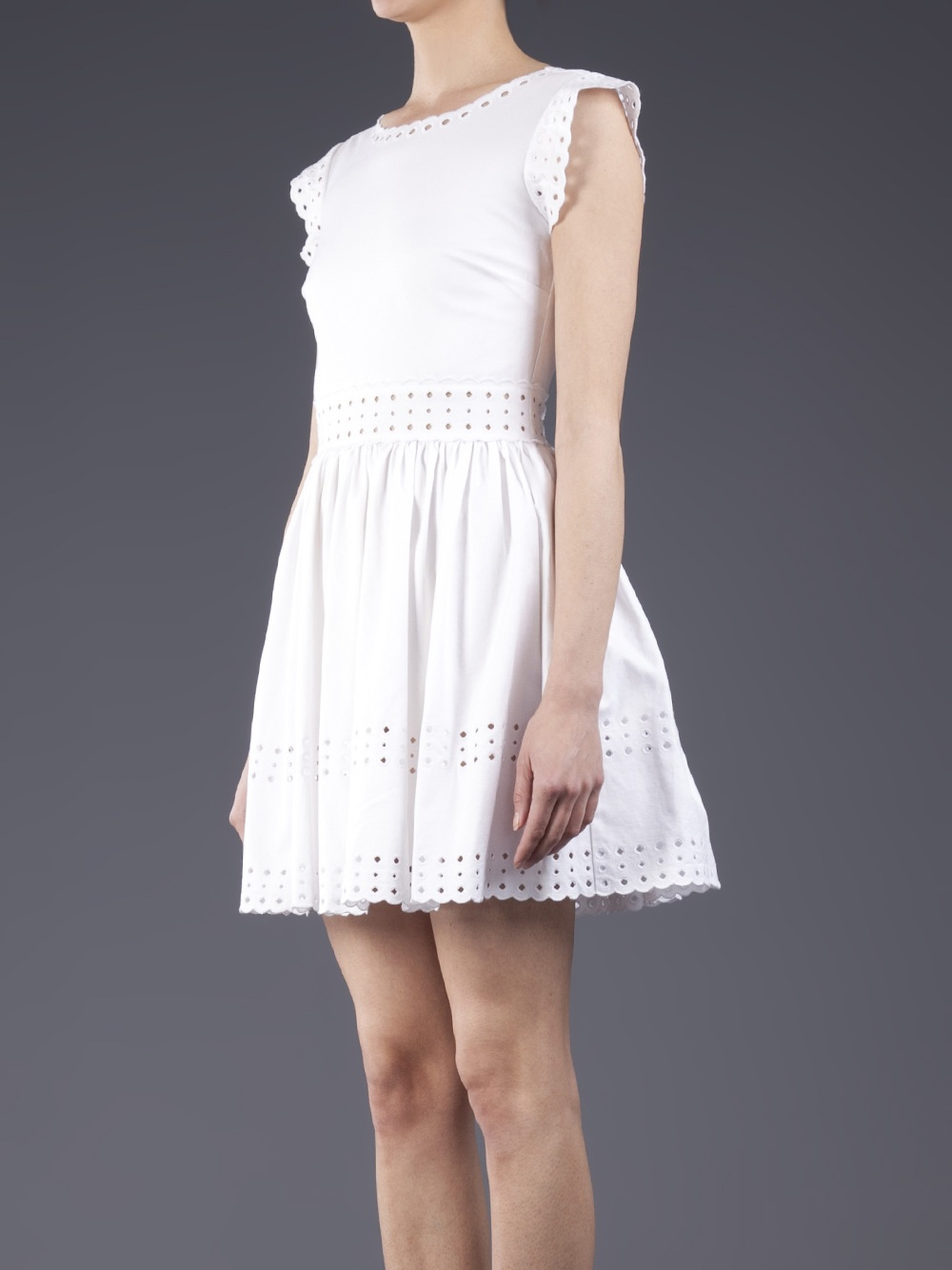 Red valentino embroidery detail dress in white lyst