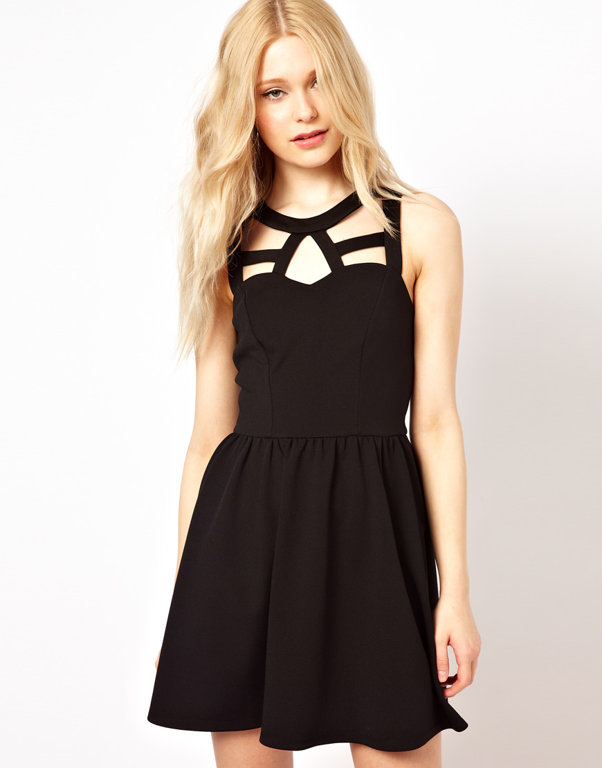 Lyst River Island Cut Out Skater Dress In Black