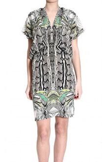Roberto Cavalli Short-sleeve Drapery Silk Dress With New England Print - Lyst
